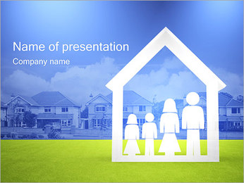 Family in House PowerPoint Template