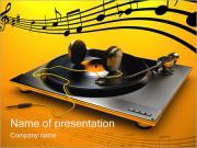 DJ Earphones & Turntable PowerPoint Templates