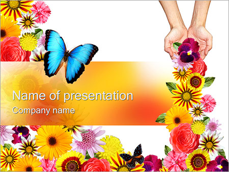 beautiful flowers powerpoint template & backgrounds id 0000000989, Modern powerpoint