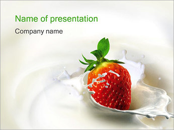 Strawberry with Cream PowerPoint Template