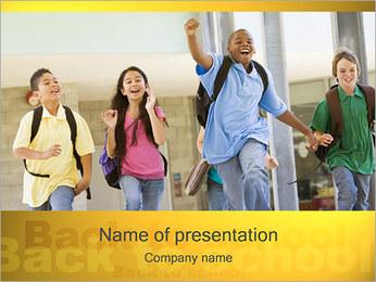 School Pupils Running PowerPoint Template