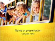 Kids in School Bus PowerPoint Templates