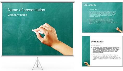 Writing on Chalkboard PowerPoint Template