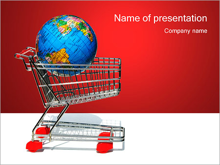 Globe in Shopping Trolley PowerPoint Template