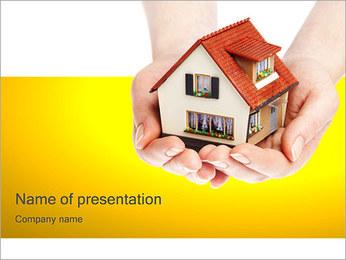 手の中の家 PowerPointプレゼンテーションのテンプレート