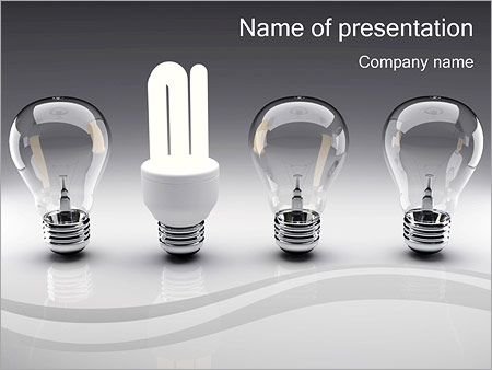 energy saving light bulbs powerpoint template & backgrounds id, Powerpoint templates