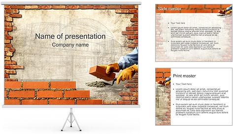 Edifício da parede de tijolo Modelos de apresentações PowerPoint