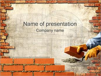 El edificio de ladrillo de la pared Plantillas de Presentaciones PowerPoint