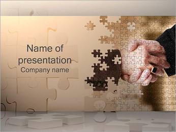 Handshake and Puzzle PowerPoint Template