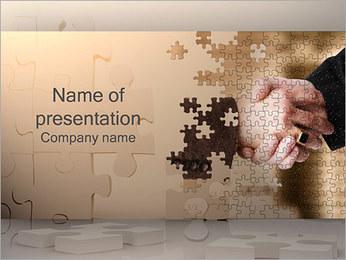 ハンドシェイクとパズル PowerPointプレゼンテーションのテンプレート