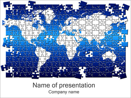 Puzzle of world map powerpoint template backgrounds id puzzle of world map powerpoint templates sciox Images