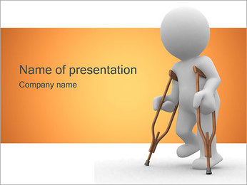 Wounded Human with Crutch PowerPoint Template