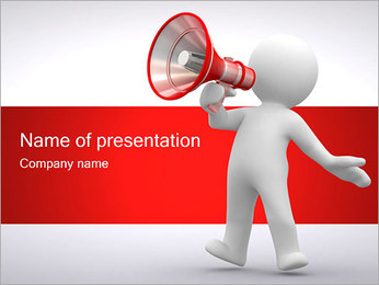 Man with Loudspeaker PowerPoint Template