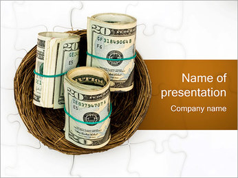 Birds Nest with Dollars PowerPoint Template