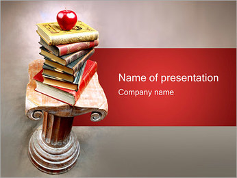 Apple on Old Books PowerPoint Template