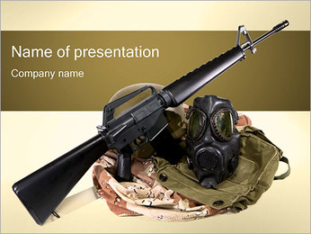 Weapon and Mask PowerPoint Template - Slide 1