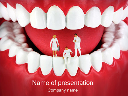 teeth with miniature dentists powerpoint template & backgrounds id, Modern powerpoint