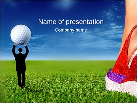 woman golf powerpoint template & backgrounds id 0000001244, Modern powerpoint