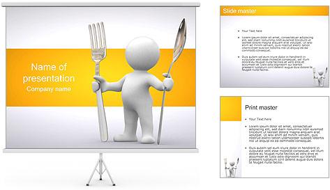 Homem com colher e forquilha Modelos de apresentações PowerPoint
