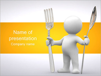 Man with Spoon and Fork PowerPoint Template