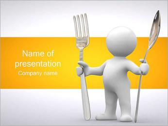 Homem com colher e forquilha Modelos de apresentações PowerPoint - Slide 1