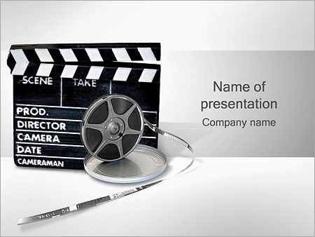 Clapper Board And Film Reel Powerpoint Template Backgrounds