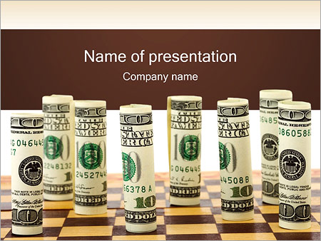 Money on Chess Board PowerPoint Template
