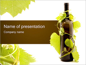 Wine Bottle and Grape PowerPoint Template
