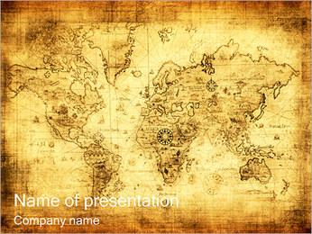 古いマップ PowerPointプレゼンテーションのテンプレート
