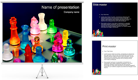 Colorful Chess Pieces PowerPoint Template