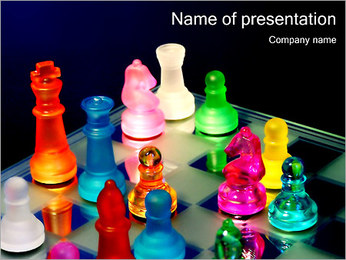 Colorful Chess Pieces PowerPoint Template - Slide 1