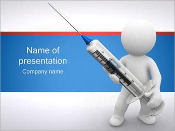 人は、注射器を保持します PowerPointプレゼンテーションのテンプレート