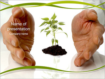 Hands and Plant PowerPoint Template