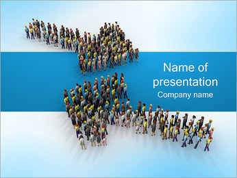 Two Arrows of People PowerPoint Template