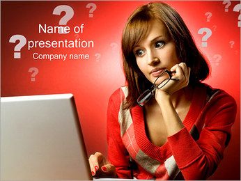Woman with Laptop PowerPoint Template