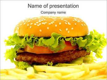 Hamburger and Fries PowerPoint Template