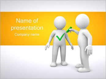 Person and Check Mark PowerPoint Template