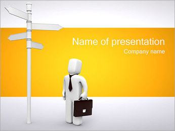 Businessman and Decision PowerPoint Template