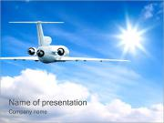 Private Jet in Sky PowerPoint Template
