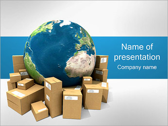 Globe and Boxes PowerPoint Template