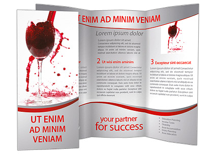 Red wine splashing brochure template design id for Wine brochure template