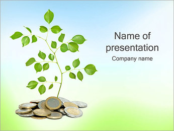 Money Tree Euro PowerPoint Template - Slide 1