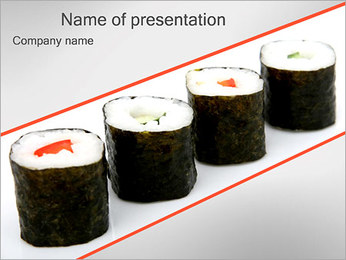 Sushi Seafood PowerPoint Template - Slide 1