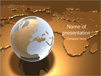 Globe on World Map PowerPoint Template