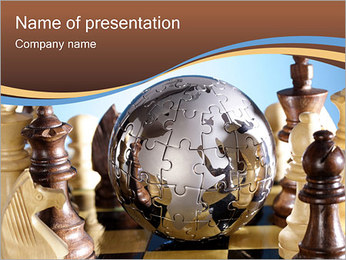 Globe Puzzle and Chess PowerPoint Template