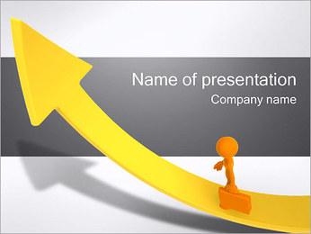 Businessman on Rising Arrow PowerPoint Template