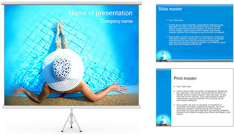 Woman in Pool PowerPoint Template