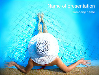 Woman in Pool PowerPoint Templates - Slide 1