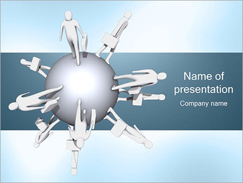 Businesspeople Around Sphere PowerPoint Template