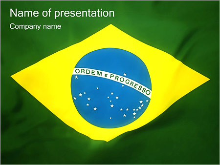 brazil flag powerpoint template & backgrounds id 0000001587, Presentation templates